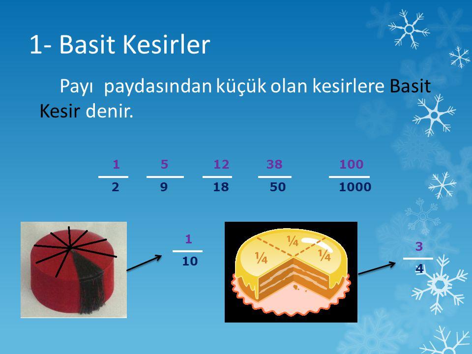1- Basit Kesirler Payı paydasından küçük olan kesirlere Basit Kesir denir. 1 5 12 38 100.