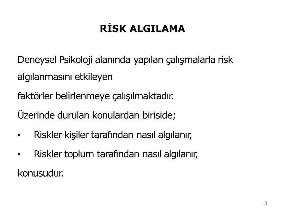 RİSK ALGILAMA Deneysel Psikoloji alanında yapılan çalışmalarla risk algılanmasını etkileyen. faktörler belirlenmeye çalışılmaktadır.