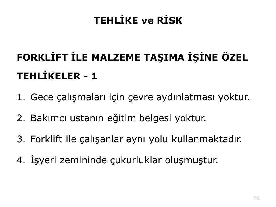 TEHLİKE ve RİSK FORKLİFT İLE MALZEME TAŞIMA İŞİNE ÖZEL TEHLİKELER - 1. Gece çalışmaları için çevre aydınlatması yoktur.