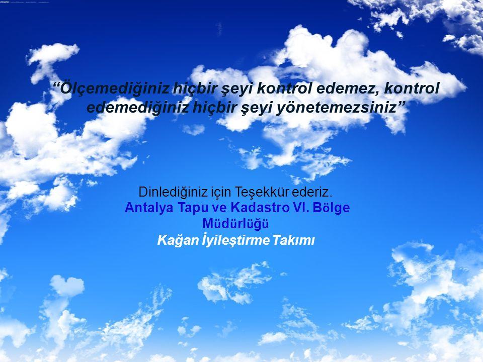 Antalya Tapu ve Kadastro VI. Bölge Müdürlüğü Kağan İyileştirme Takımı