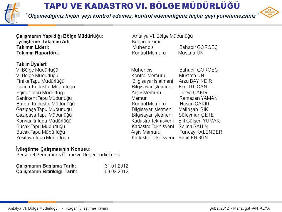 Çalışmanın Yapıldığı Bölge Müdürlüğü: Antalya VI. Bölge Müdürlüğü