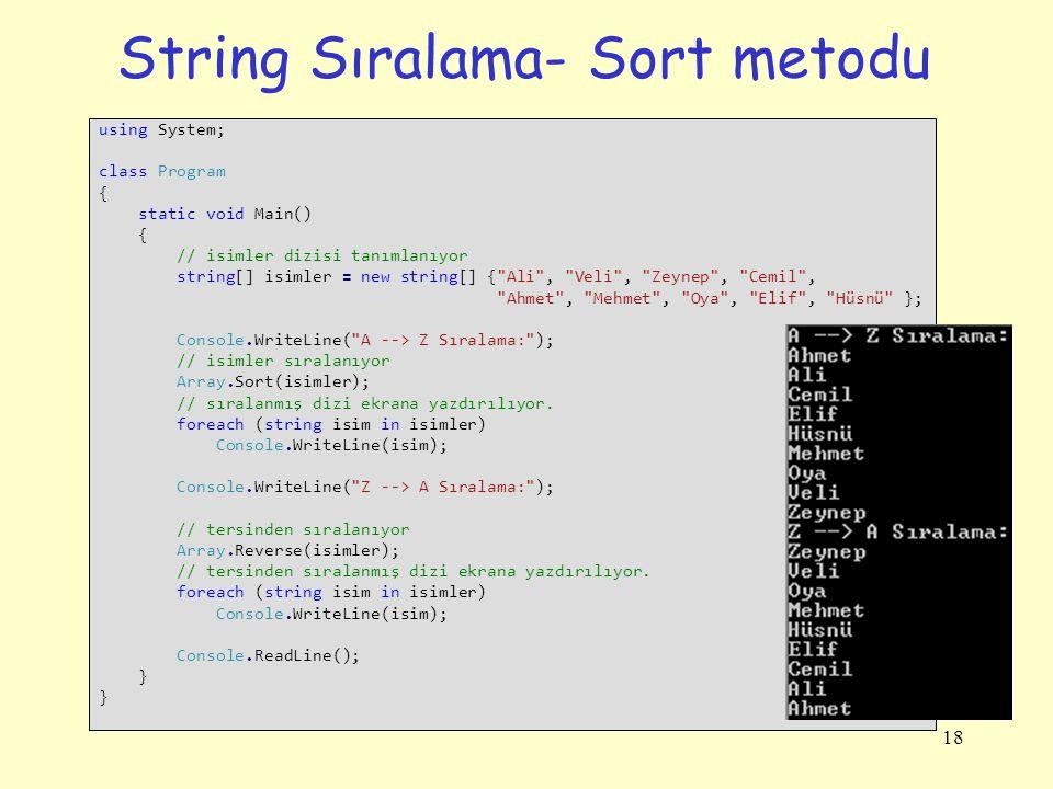 String Sıralama- Sort metodu