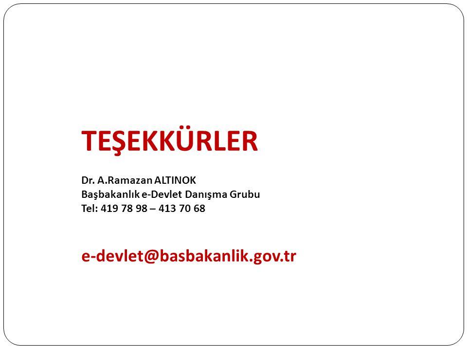 TEŞEKKÜRLER e-devlet@basbakanlik.gov.tr Dr. A.Ramazan ALTINOK