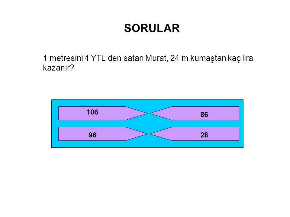 SORULAR 1 metresini 4 YTL den satan Murat, 24 m kumaştan kaç lira kazanır 106 86 96 28