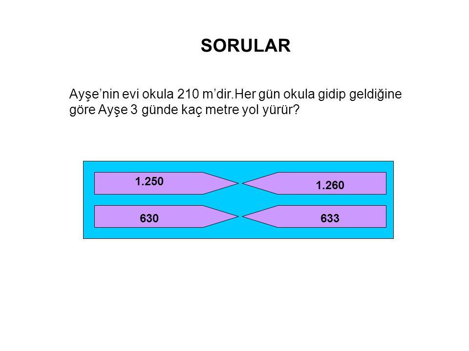 SORULAR Ayşe'nin evi okula 210 m'dir.Her gün okula gidip geldiğine göre Ayşe 3 günde kaç metre yol yürür