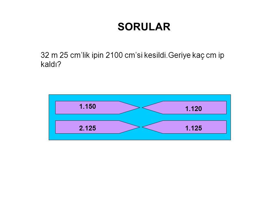 SORULAR 32 m 25 cm'lik ipin 2100 cm'si kesildi.Geriye kaç cm ip kaldı