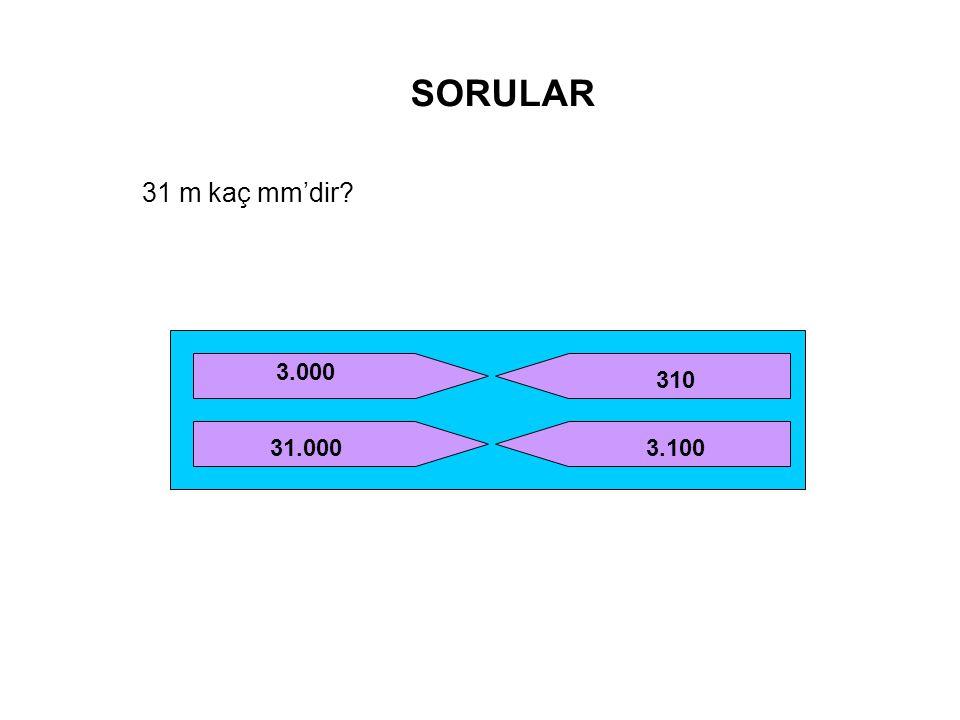 SORULAR 31 m kaç mm'dir 3.000 310 31.000 3.100