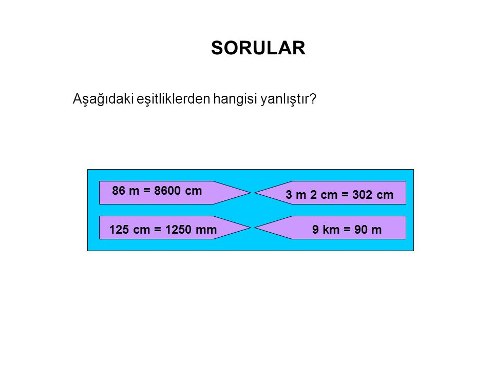 SORULAR Aşağıdaki eşitliklerden hangisi yanlıştır 86 m = 8600 cm