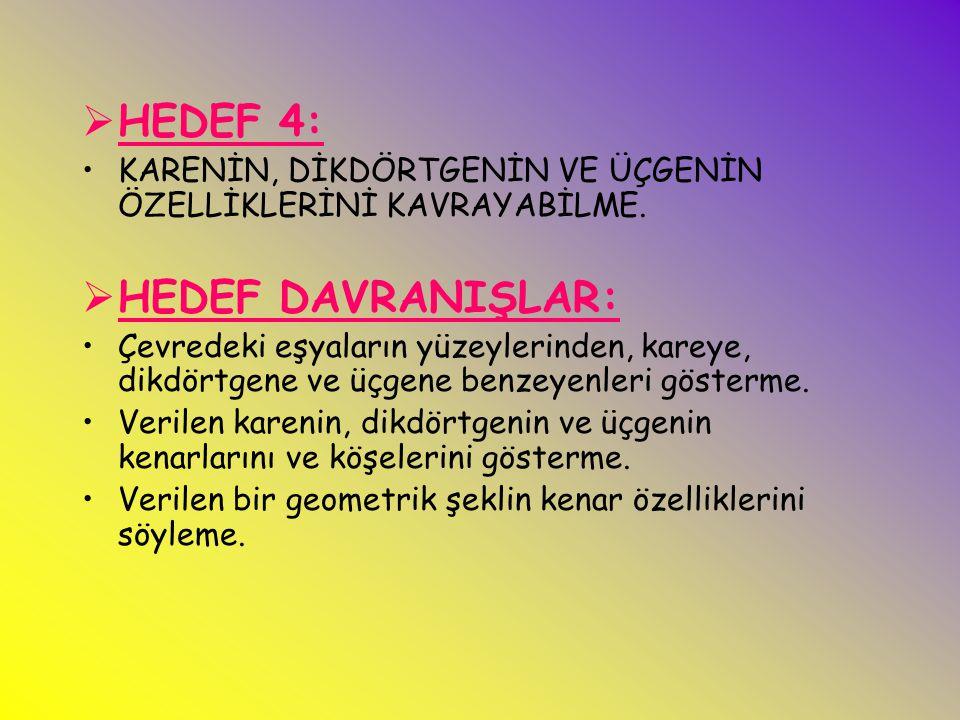 HEDEF 4: HEDEF DAVRANIŞLAR: