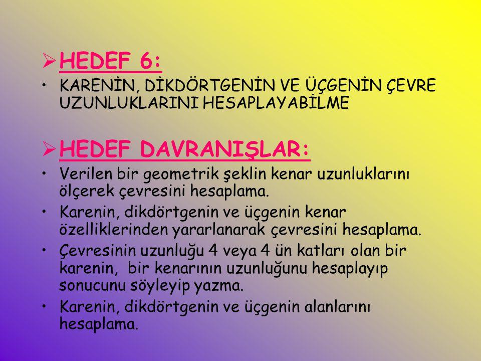 HEDEF 6: HEDEF DAVRANIŞLAR: