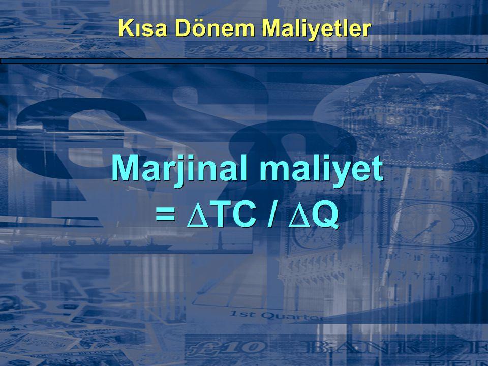 Marjinal maliyet = TC / Q