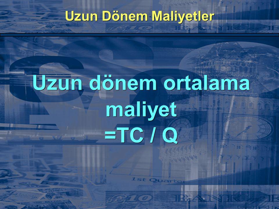 Uzun dönem ortalama maliyet =TC / Q
