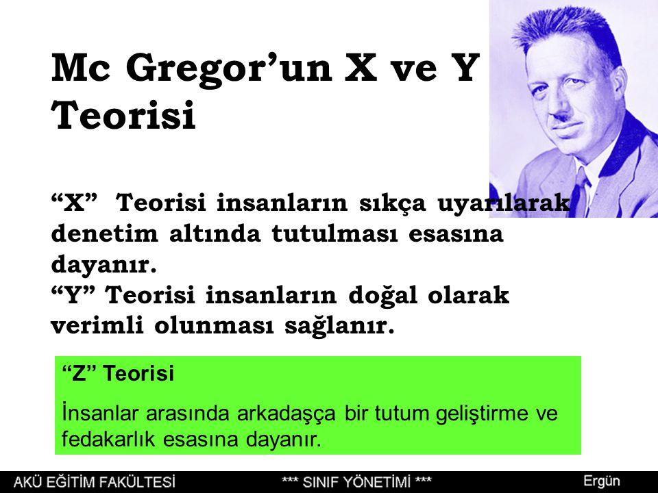 Mc Gregor'un X ve Y Teorisi