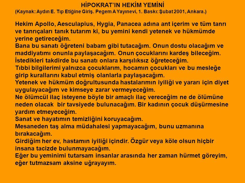 HİPOKRAT'IN HEKİM YEMİNİ