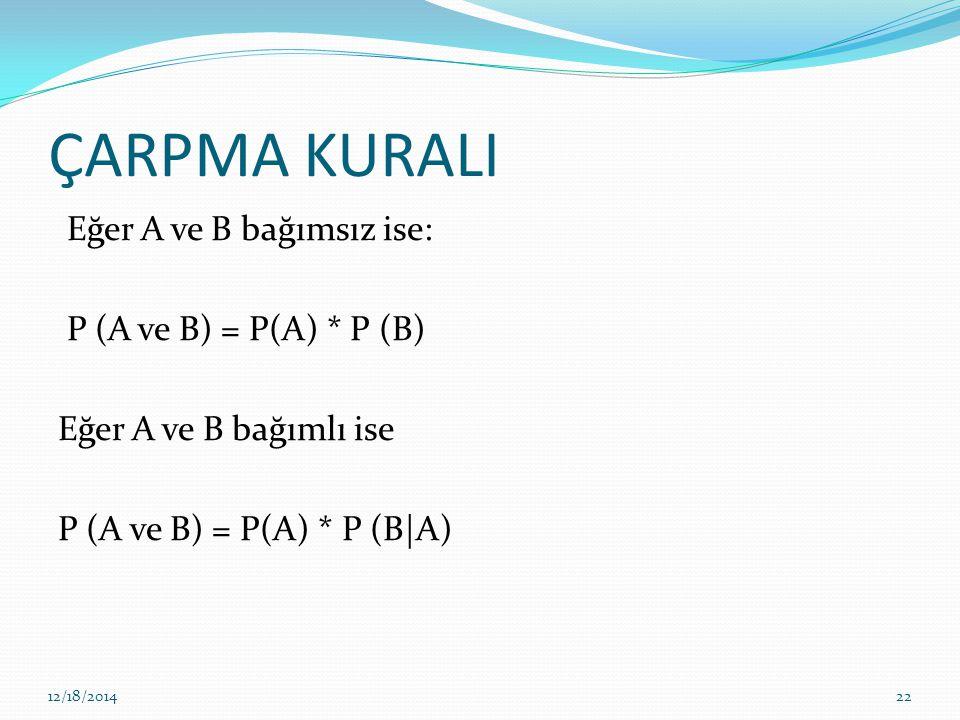 ÇARPMA KURALI Eğer A ve B bağımsız ise: P (A ve B) = P(A) * P (B) Eğer A ve B bağımlı ise P (A ve B) = P(A) * P (B|A)