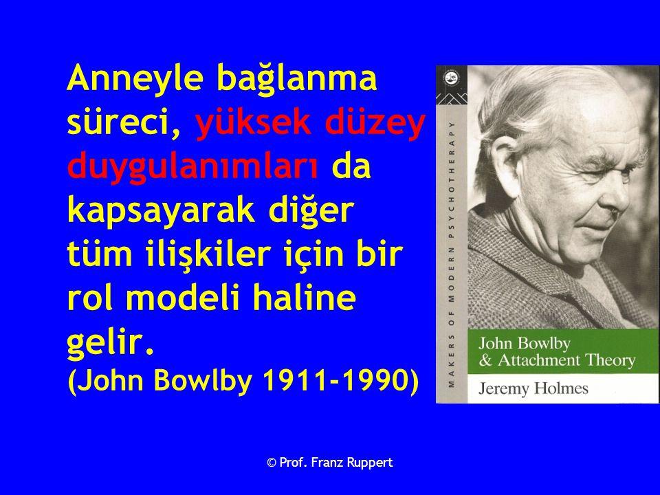 Anneyle bağlanma süreci, yüksek düzey duygulanımları da kapsayarak diğer tüm ilişkiler için bir rol modeli haline gelir. (John Bowlby 1911-1990)