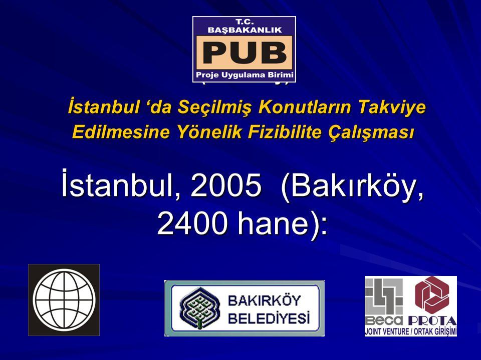 (Bakırköy) İstanbul 'da Seçilmiş Konutların Takviye Edilmesine Yönelik Fizibilite Çalışması İstanbul, 2005 (Bakırköy, 2400 hane):
