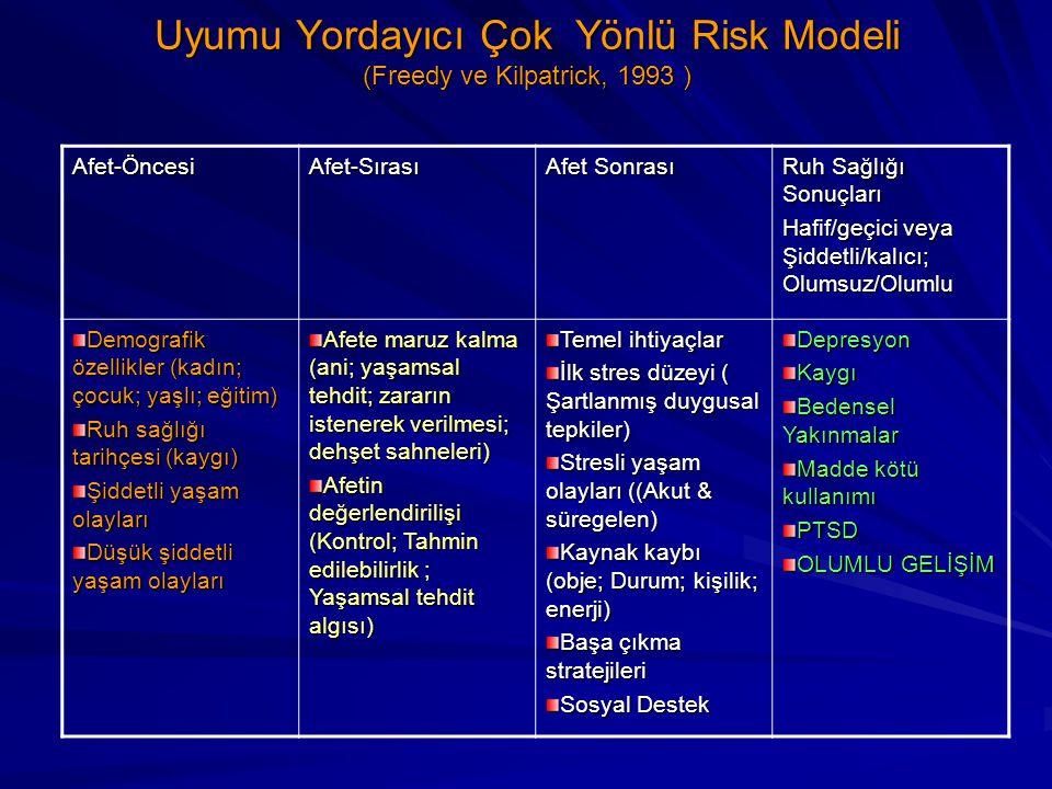 Uyumu Yordayıcı Çok Yönlü Risk Modeli (Freedy ve Kilpatrick, 1993 )