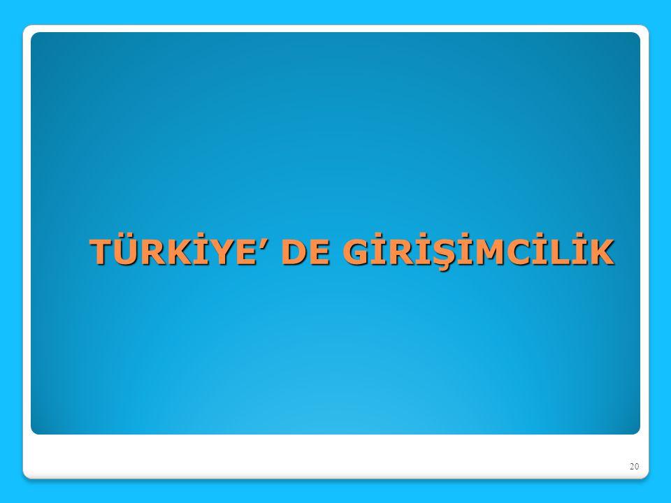TÜRKİYE' DE GİRİŞİMCİLİK