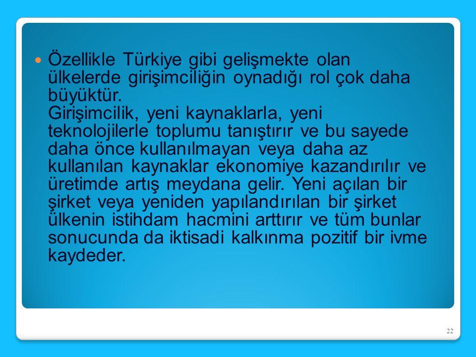 Özellikle Türkiye gibi gelişmekte olan ülkelerde girişimciliğin oynadığı rol çok daha büyüktür.