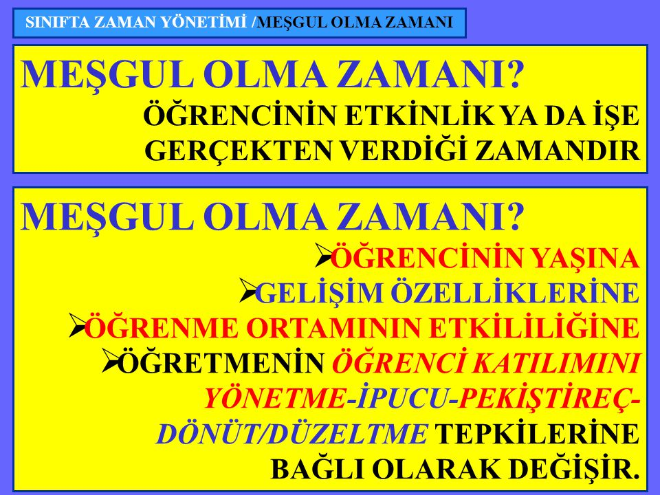 SINIFTA ZAMAN YÖNETİMİ /MEŞGUL OLMA ZAMANI