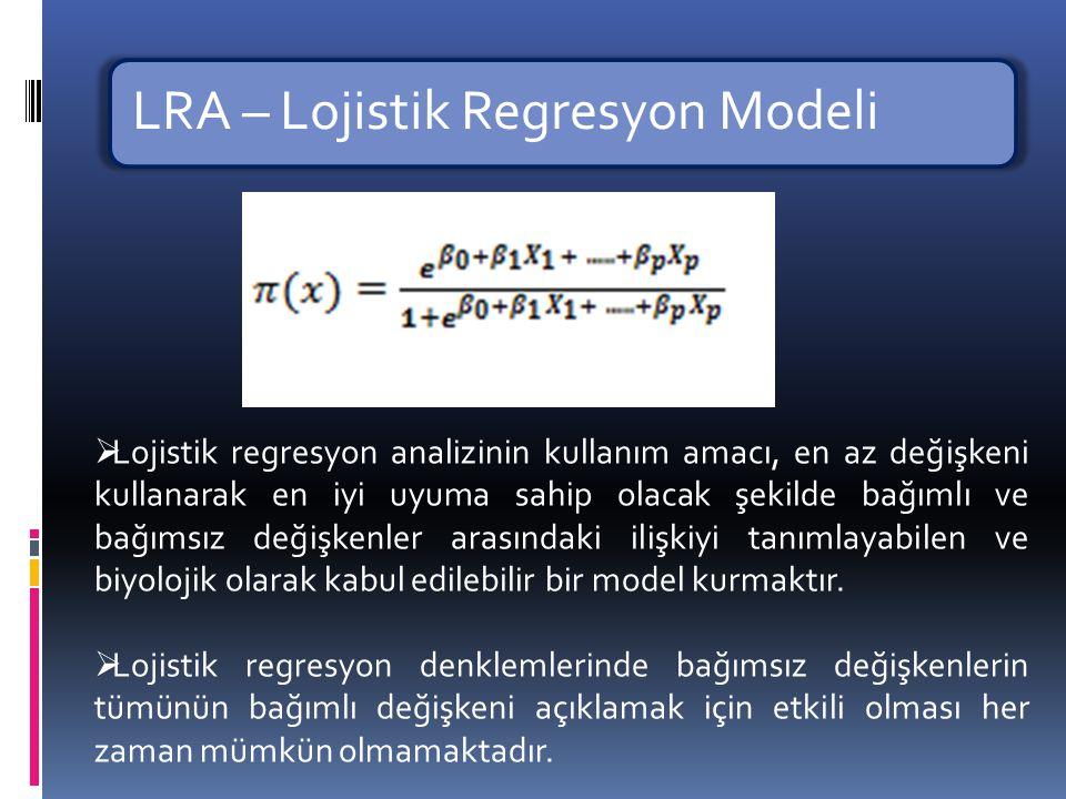 LRA – Lojistik Regresyon Modeli