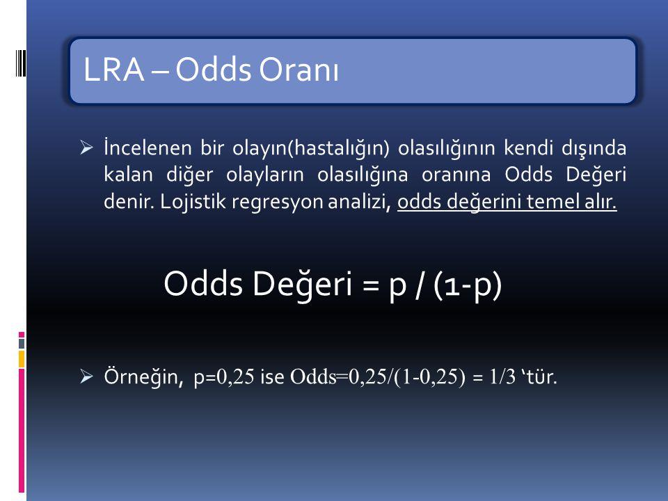 LRA – Odds Oranı Odds Değeri = p / (1-p)