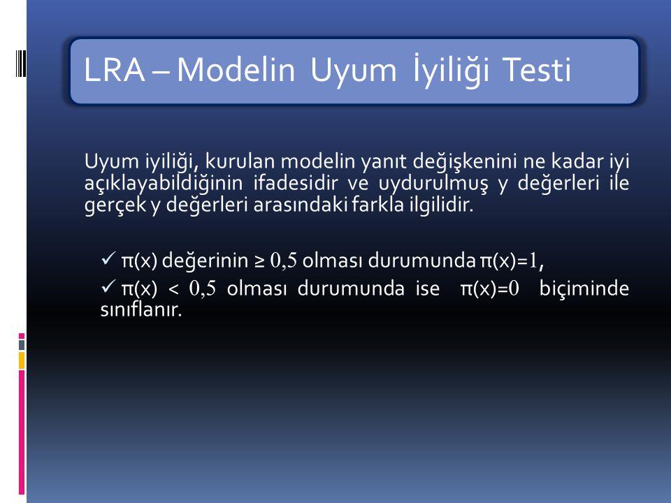 LRA – Modelin Uyum İyiliği Testi