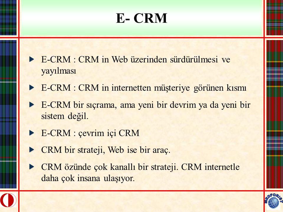 E- CRM E-CRM : CRM in Web üzerinden sürdürülmesi ve yayılması