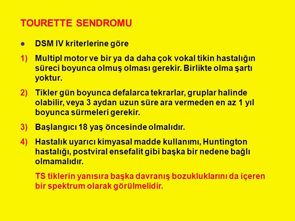 TOURETTE SENDROMU DSM IV kriterlerine göre