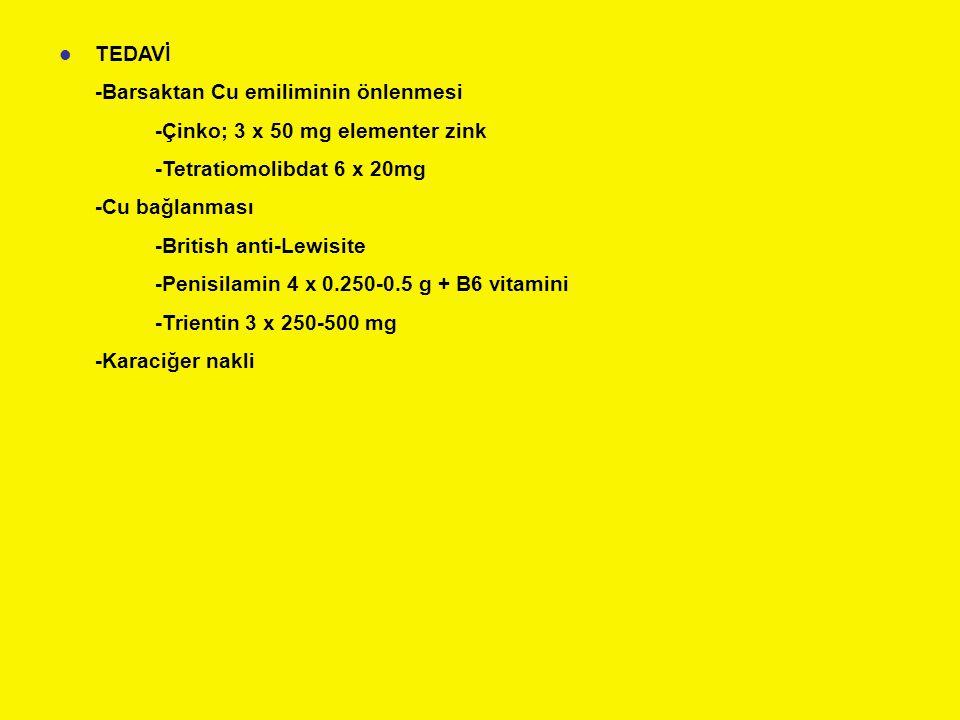 TEDAVİ -Barsaktan Cu emiliminin önlenmesi. -Çinko; 3 x 50 mg elementer zink. -Tetratiomolibdat 6 x 20mg.
