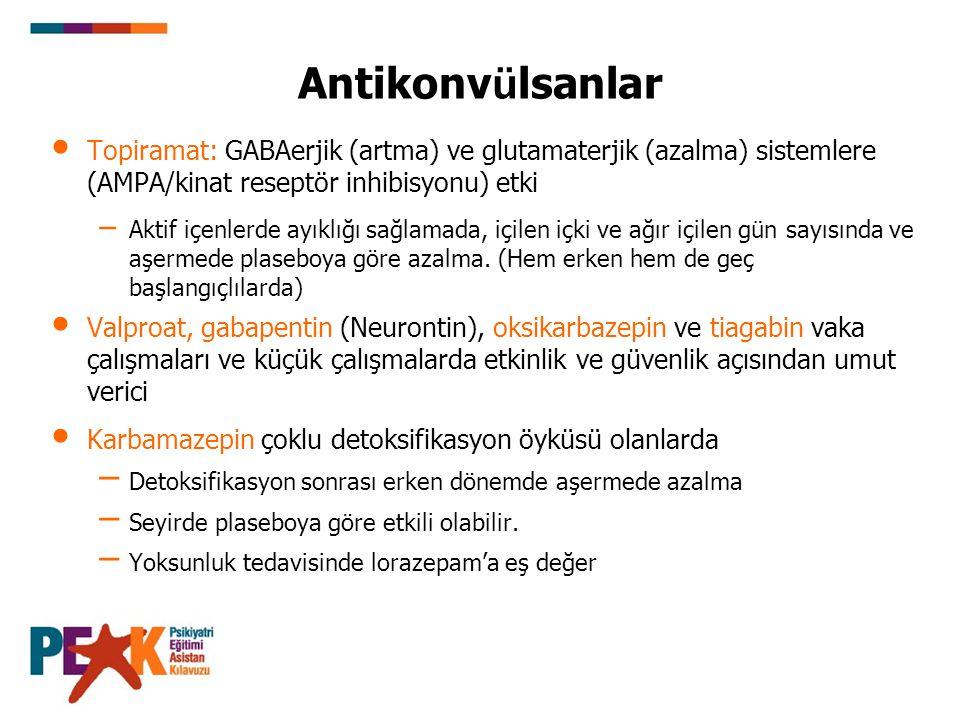 Antikonvülsanlar Topiramat: GABAerjik (artma) ve glutamaterjik (azalma) sistemlere (AMPA/kinat reseptör inhibisyonu) etki.
