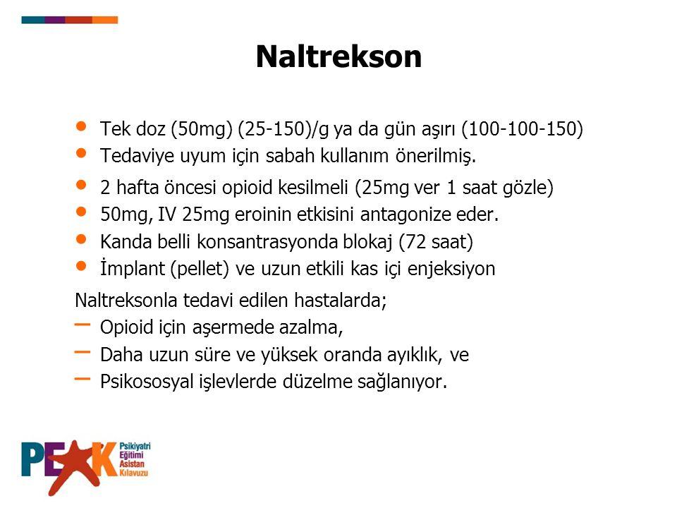 Naltrekson Tek doz (50mg) (25-150)/g ya da gün aşırı (100-100-150)