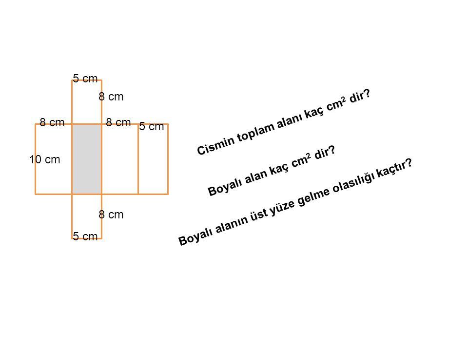 5 cm 8 cm. Cismin toplam alanı kaç cm2 dir 8 cm. 8 cm. 5 cm. 10 cm. Boyalı alan kaç cm2 dir