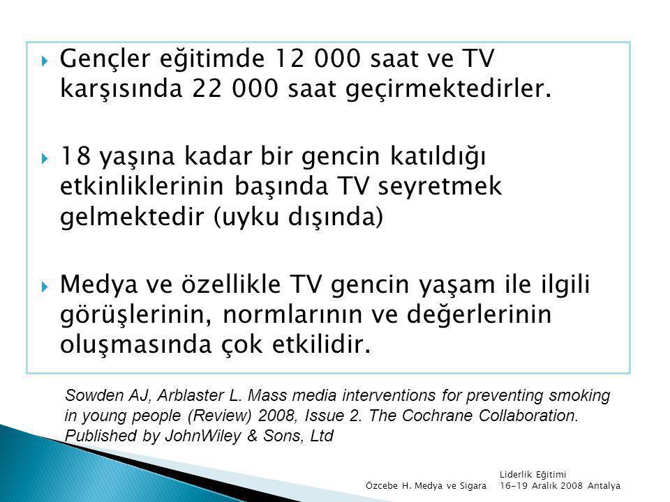 Gençler eğitimde 12 000 saat ve TV karşısında 22 000 saat geçirmektedirler.