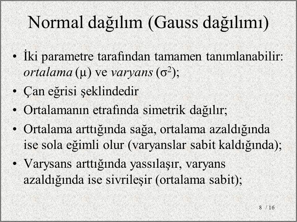 Normal dağılım (Gauss dağılımı)