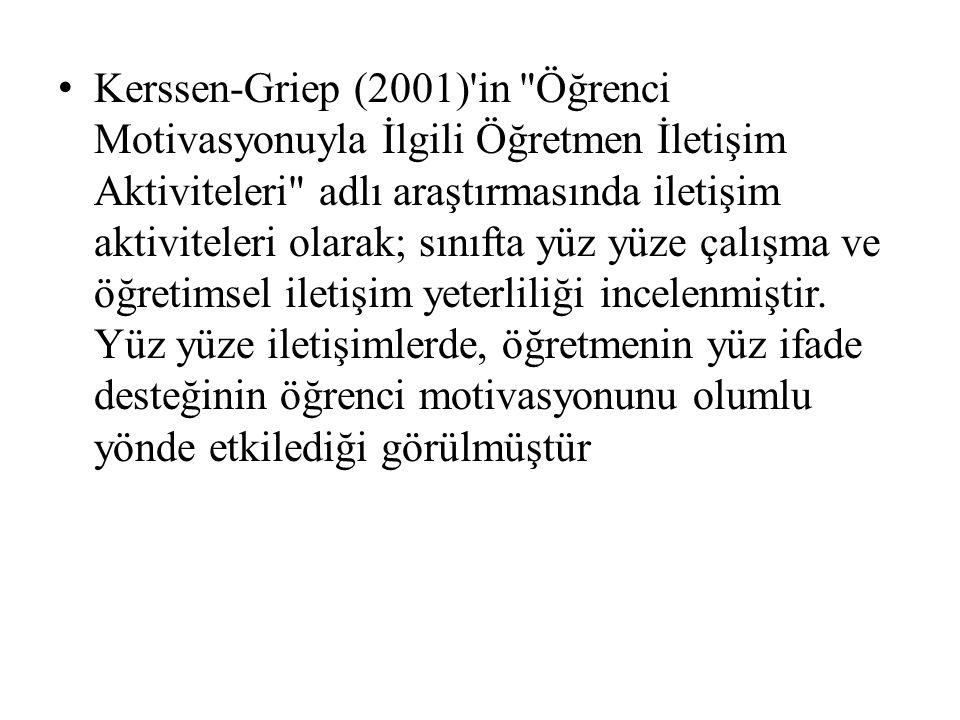 Kerssen-Griep (2001) in Öğrenci Motivasyonuyla İlgili Öğretmen İletişim Aktiviteleri adlı araştırmasında iletişim aktiviteleri olarak; sınıfta yüz yüze çalışma ve öğretimsel iletişim yeterliliği incelenmiştir.