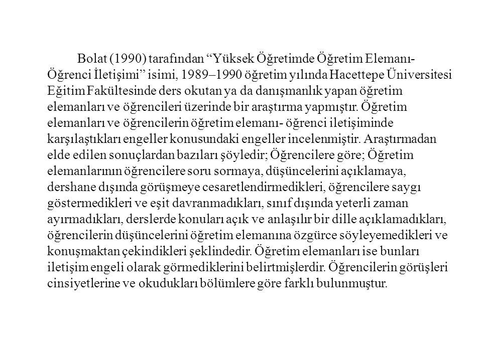 Bolat (1990) tarafından Yüksek Öğretimde Öğretim Elemanı- Öğrenci İletişimi isimi, 1989–1990 öğretim yılında Hacettepe Üniversitesi Eğitim Fakültesinde ders okutan ya da danışmanlık yapan öğretim elemanları ve öğrencileri üzerinde bir araştırma yapmıştır.