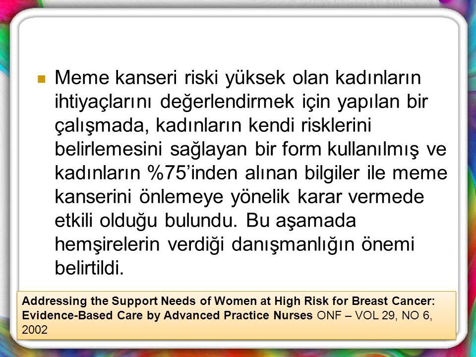 Meme kanseri riski yüksek olan kadınların ihtiyaçlarını değerlendirmek için yapılan bir çalışmada, kadınların kendi risklerini belirlemesini sağlayan bir form kullanılmış ve kadınların %75'inden alınan bilgiler ile meme kanserini önlemeye yönelik karar vermede etkili olduğu bulundu. Bu aşamada hemşirelerin verdiği danışmanlığın önemi belirtildi.
