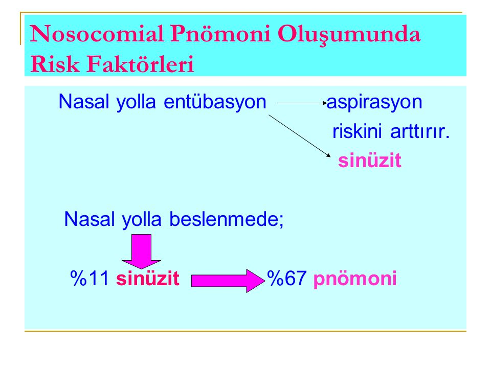 Nosocomial Pnömoni Oluşumunda Risk Faktörleri