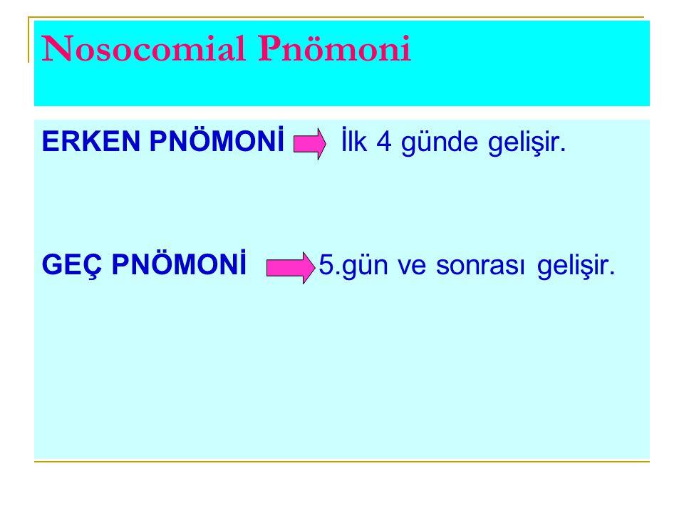 Nosocomial Pnömoni ERKEN PNÖMONİ İlk 4 günde gelişir.
