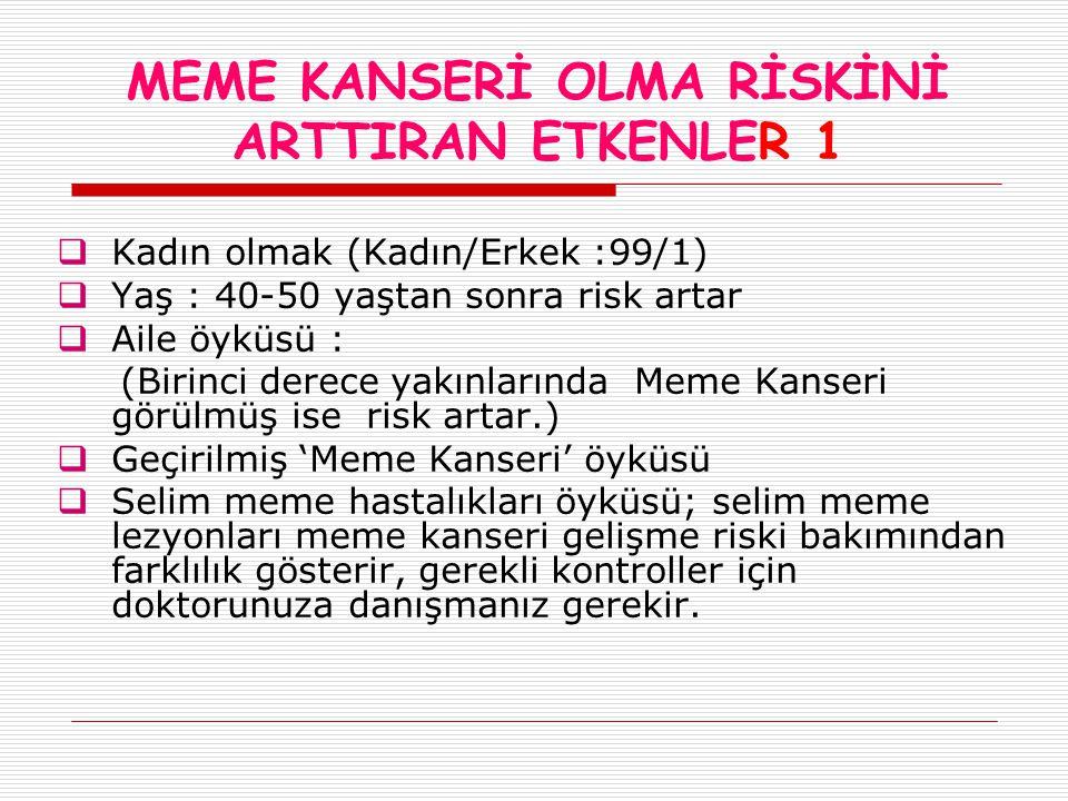 MEME KANSERİ OLMA RİSKİNİ ARTTIRAN ETKENLER 1