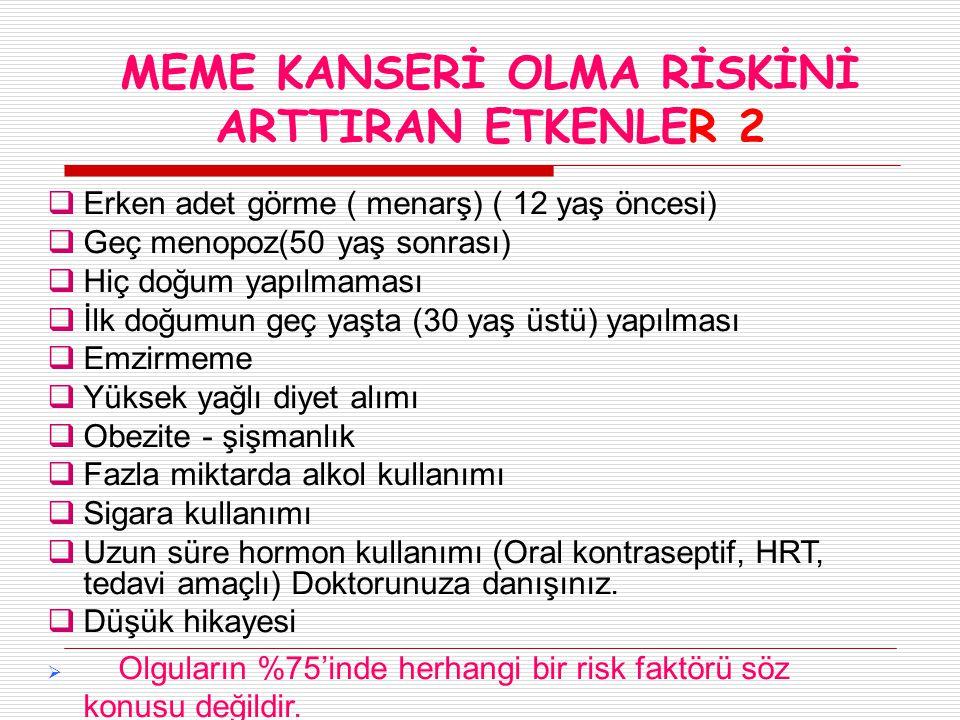MEME KANSERİ OLMA RİSKİNİ ARTTIRAN ETKENLER 2