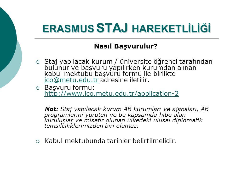 ERASMUS STAJ HAREKETLİLİĞİ