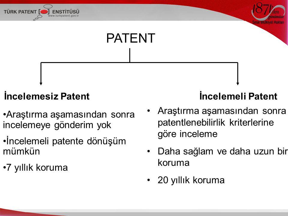 PATENT İncelemesiz Patent İncelemeli Patent