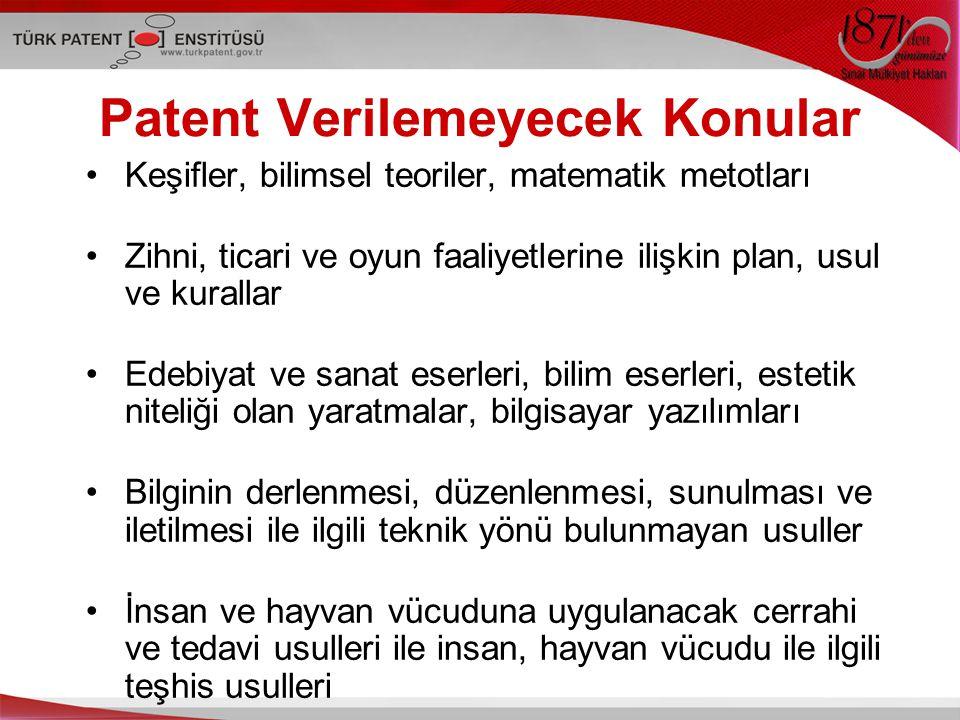 Patent Verilemeyecek Konular