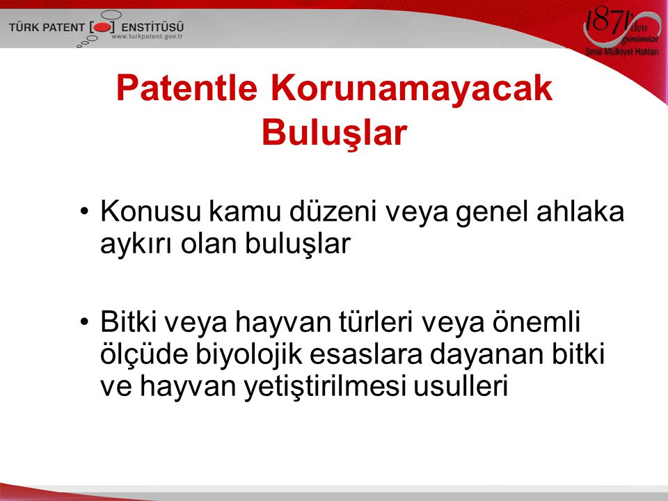 Patentle Korunamayacak Buluşlar