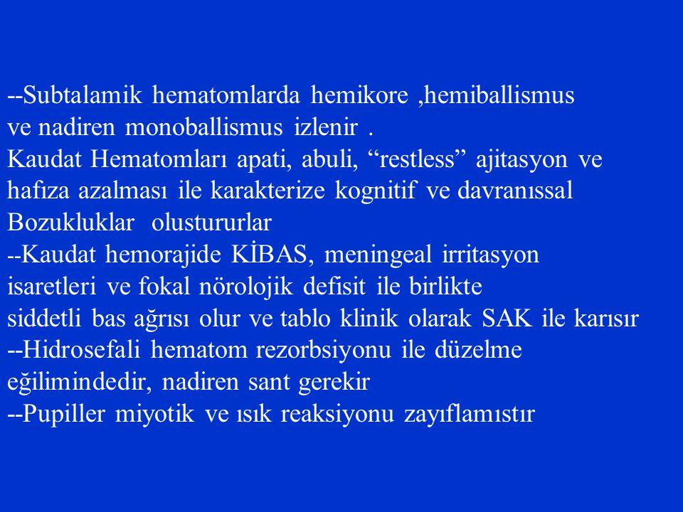 --Subtalamik hematomlarda hemikore ,hemiballismus
