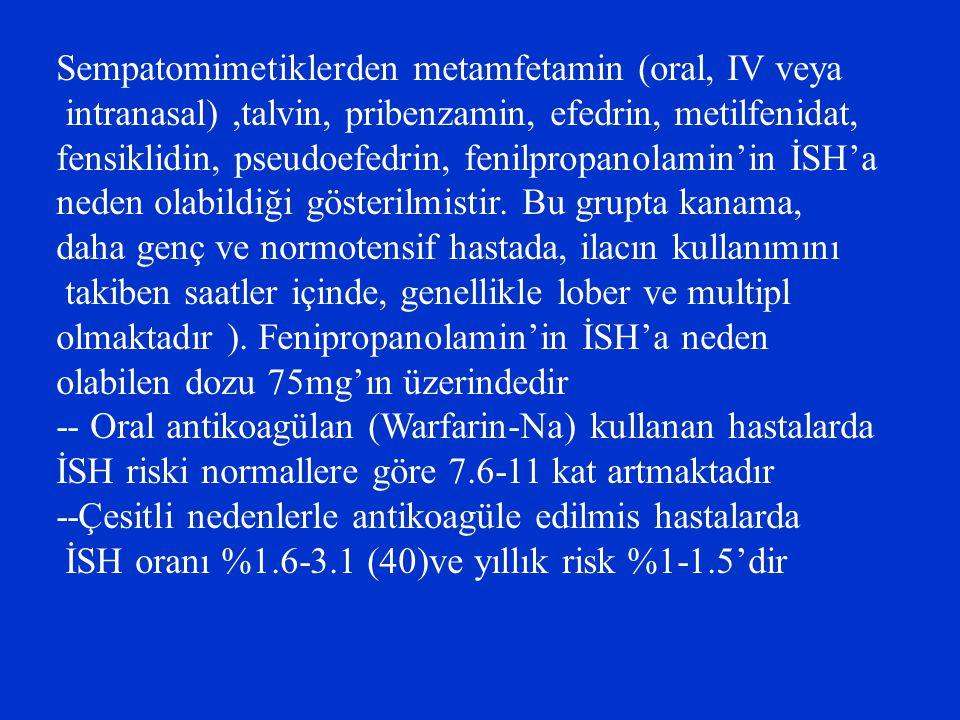 Sempatomimetiklerden metamfetamin (oral, IV veya