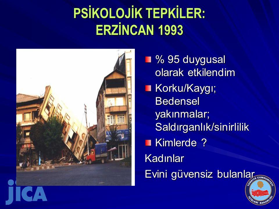 PSİKOLOJİK TEPKİLER: ERZİNCAN 1993